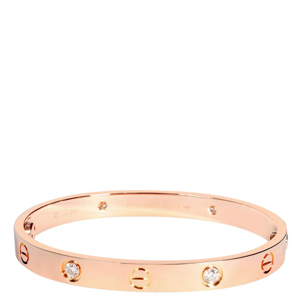 Cartier Love Diamond 18K Rose Gold Bracelet