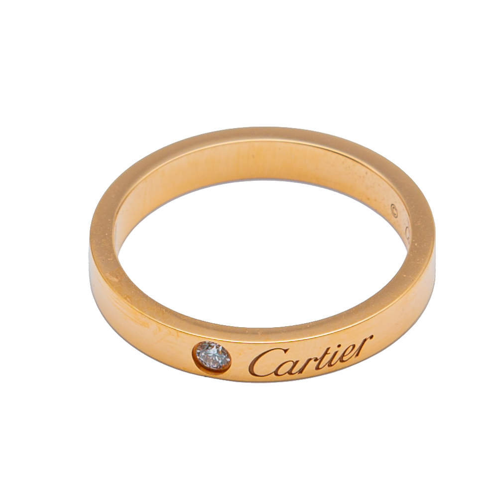 Cartier C de Cartier Rose Gold Wedding Diamond Ring Size 55