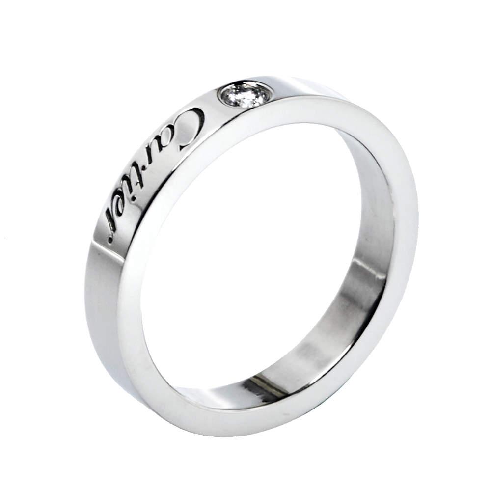 Cartier C De Cartier Diamond Platinum Wedding Band Ring Size 46