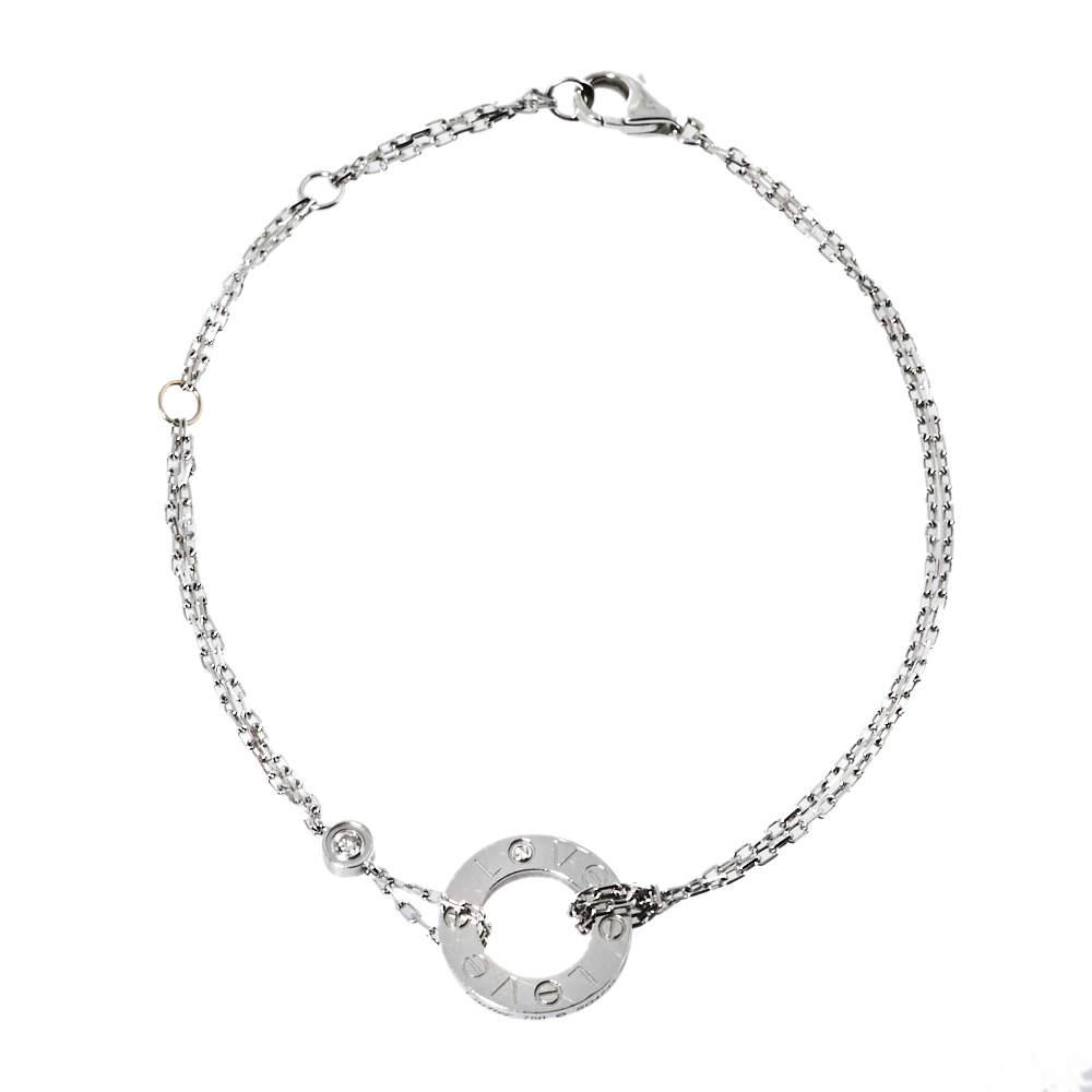 Cartier Love Diamond 18K White Gold Chain Link Bracelet