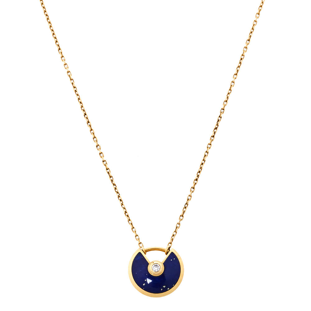 Cartier Amulette De Cartier Lapis Lazuli Diamond 18K Yellow Gold Necklace XS