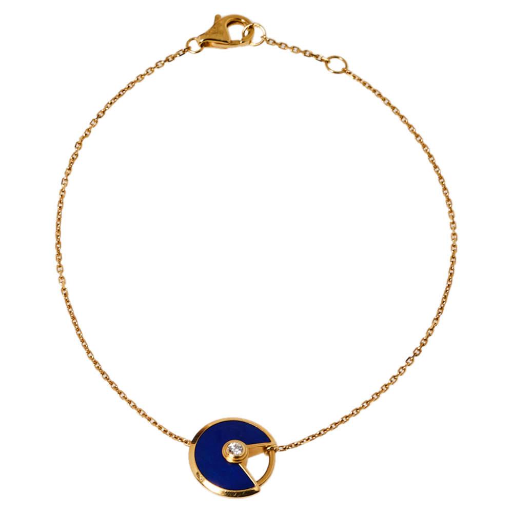 Cartier Amulette de Cartier Lapis Lazuli Diamond 18K Yellow Gold Bracelet