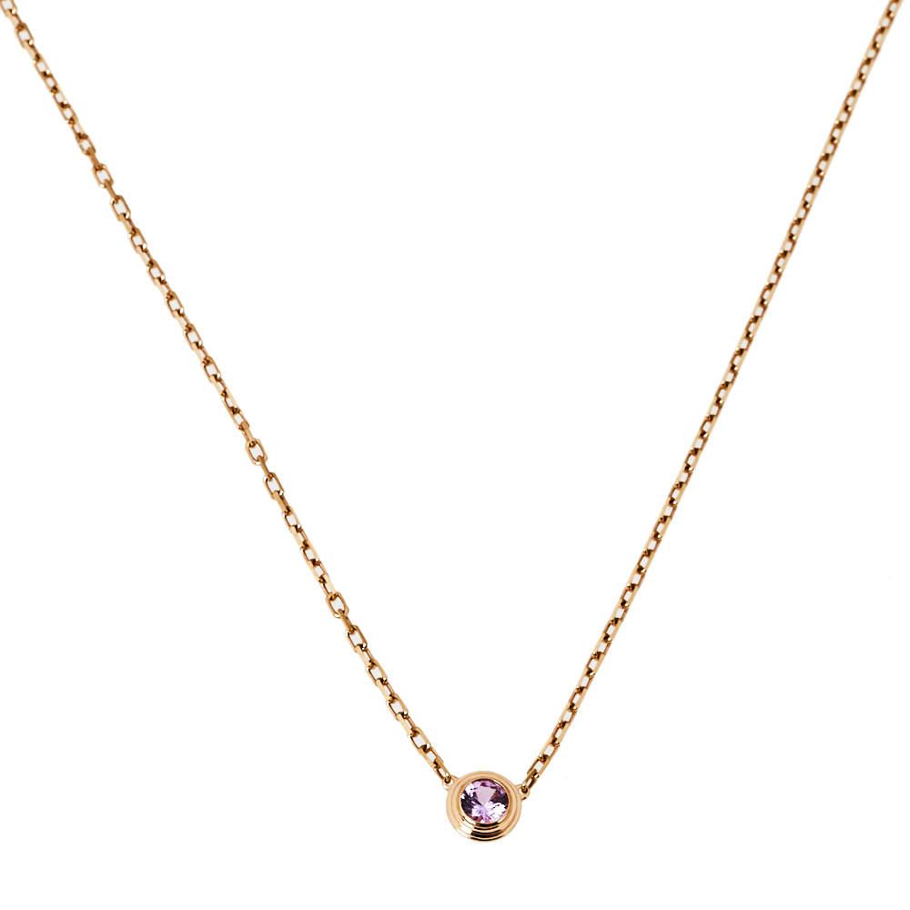 Cartier Saphirs Legers De Cartier Pink Sapphire 18K Rose Gold Necklace