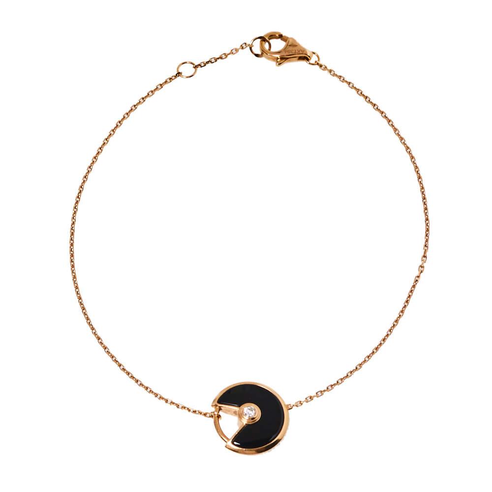 Cartier Amulette de Cartier Diamond Onyx 18K Rose Gold Bracelet
