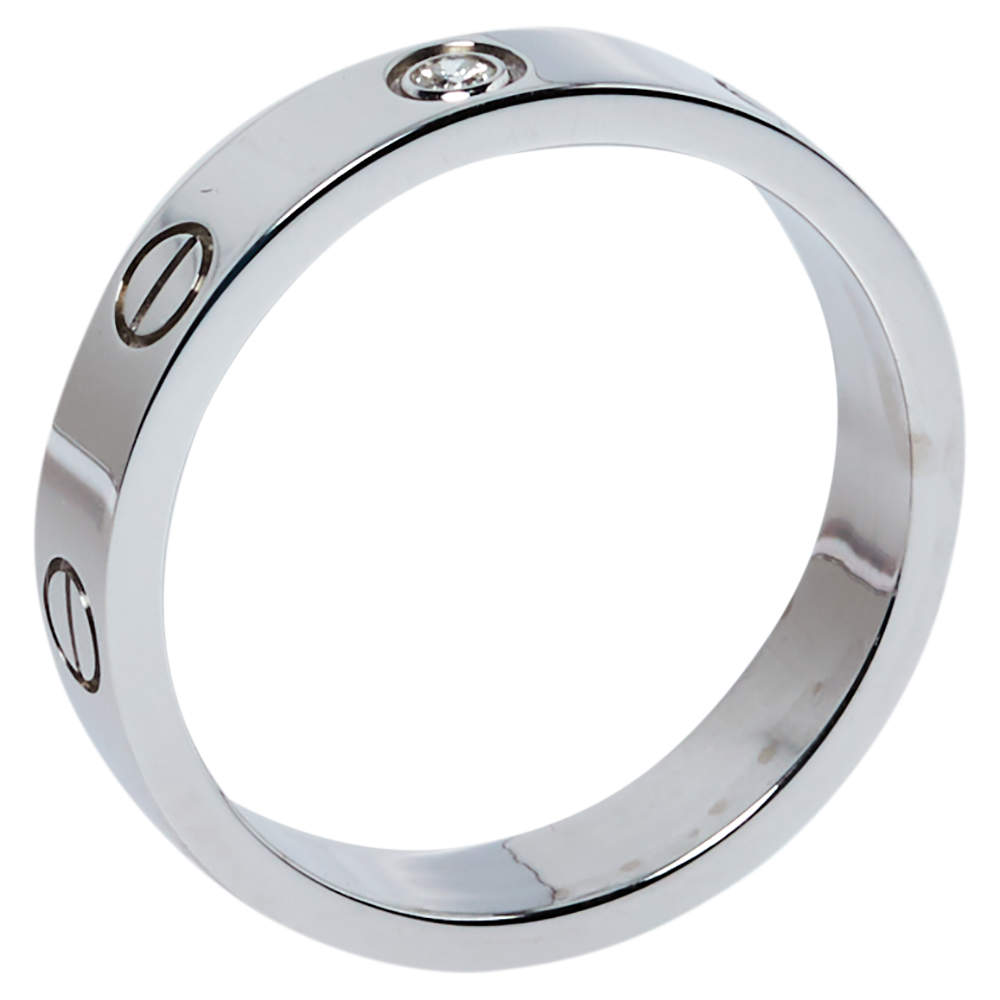 Cartier Love 1 Diamond 18K White Gold Wedding Band Ring Size 53