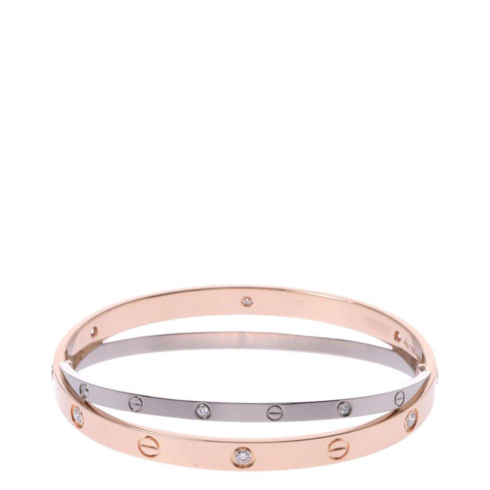 Cartier Love 12 Diamonds Double 18K White Gold 18K Rose Gold Bracelet