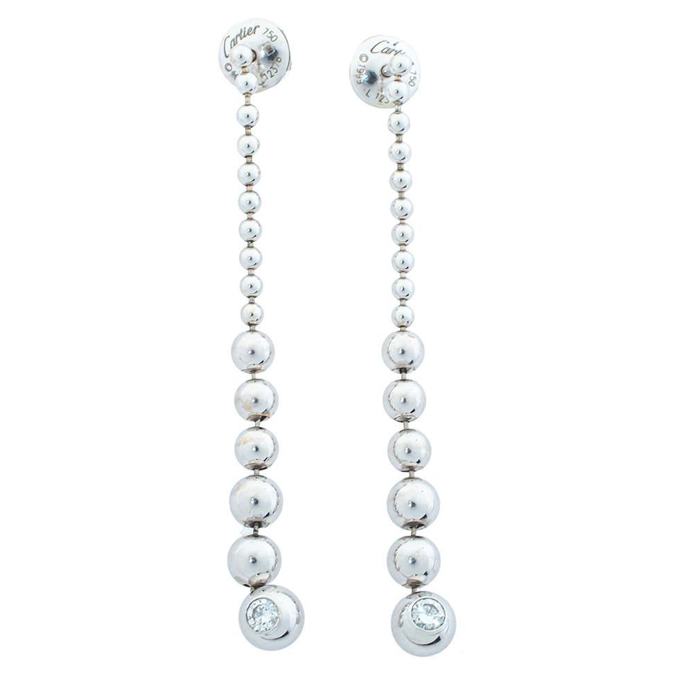 Cartier Diamond 18K White Gold Graduating Ball Bead Drop Long Earrings