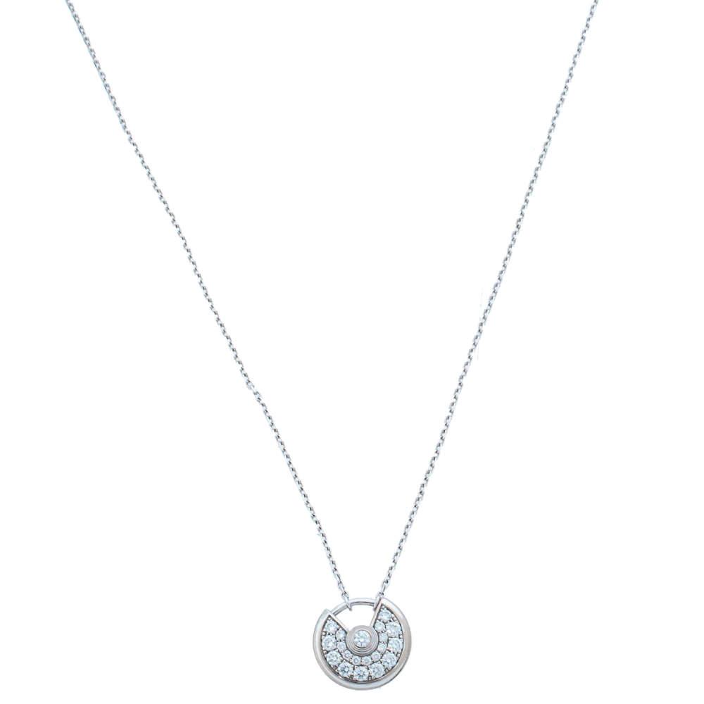 Cartier Amulette de Cartier Diamond 18K White Gold Pendant Necklace