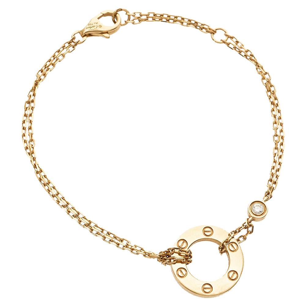 Cartier Love Diamond 18K Yellow Gold Double Strand Bracelet