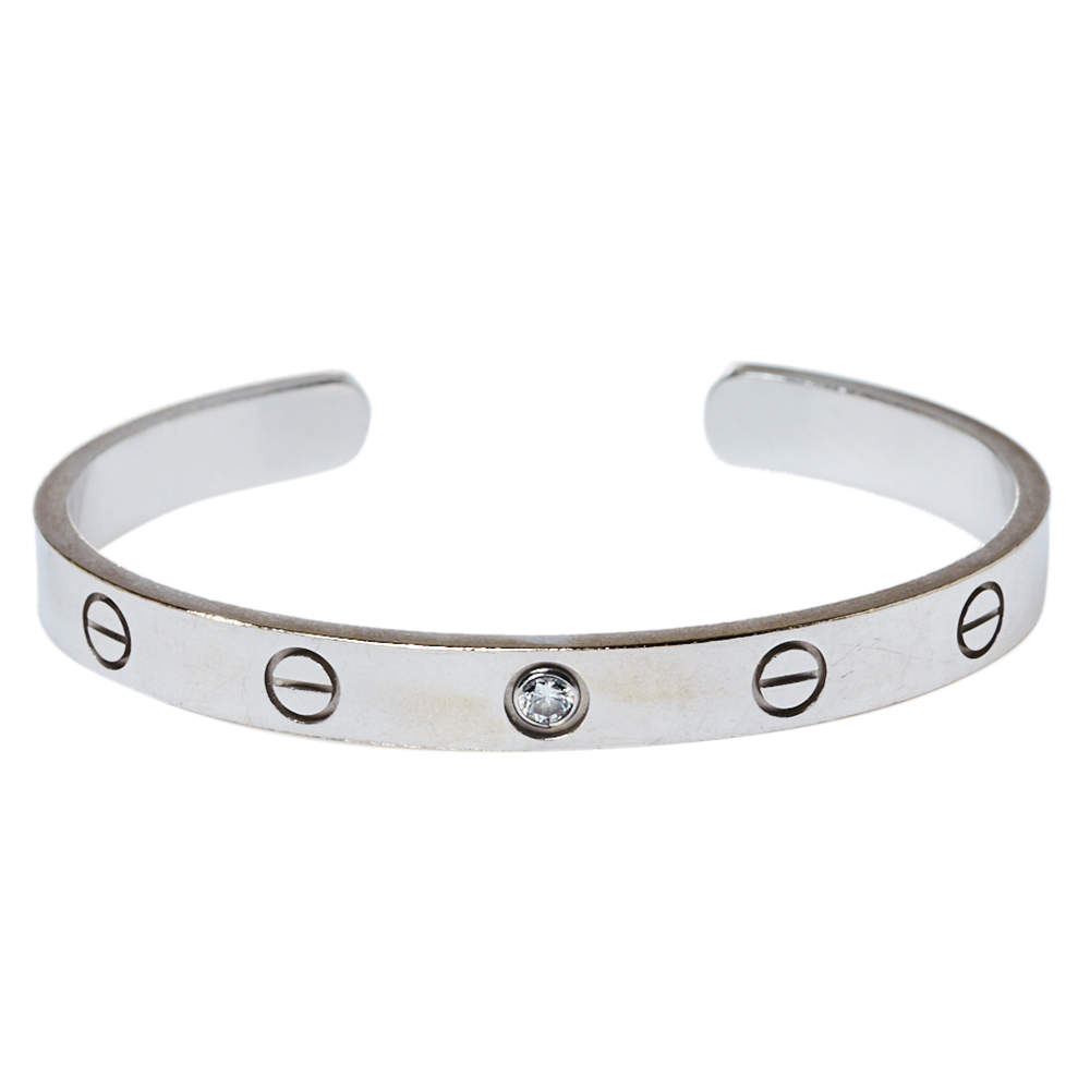 Cartier Love 1 Diamond 18K White Gold Bracelet 16