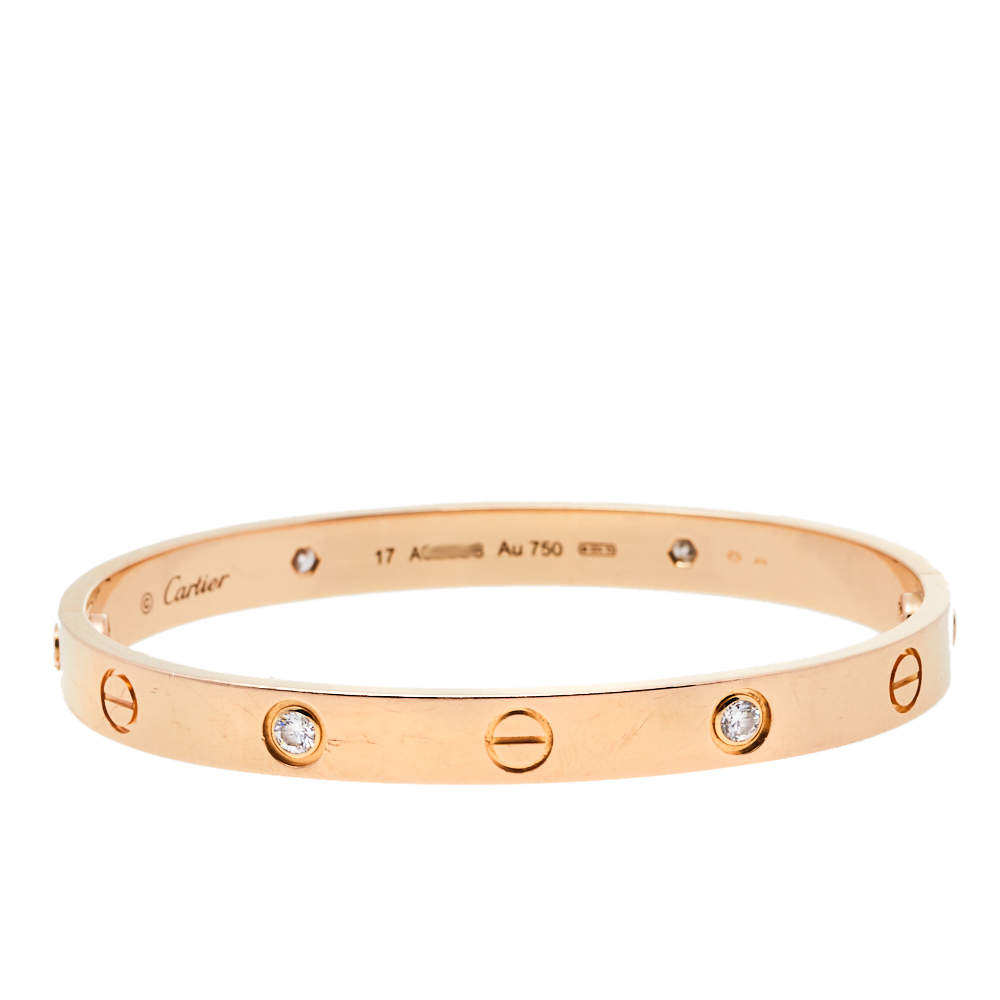 Cartier Love 4 Diamonds 18K Rose Gold Bracelet 17