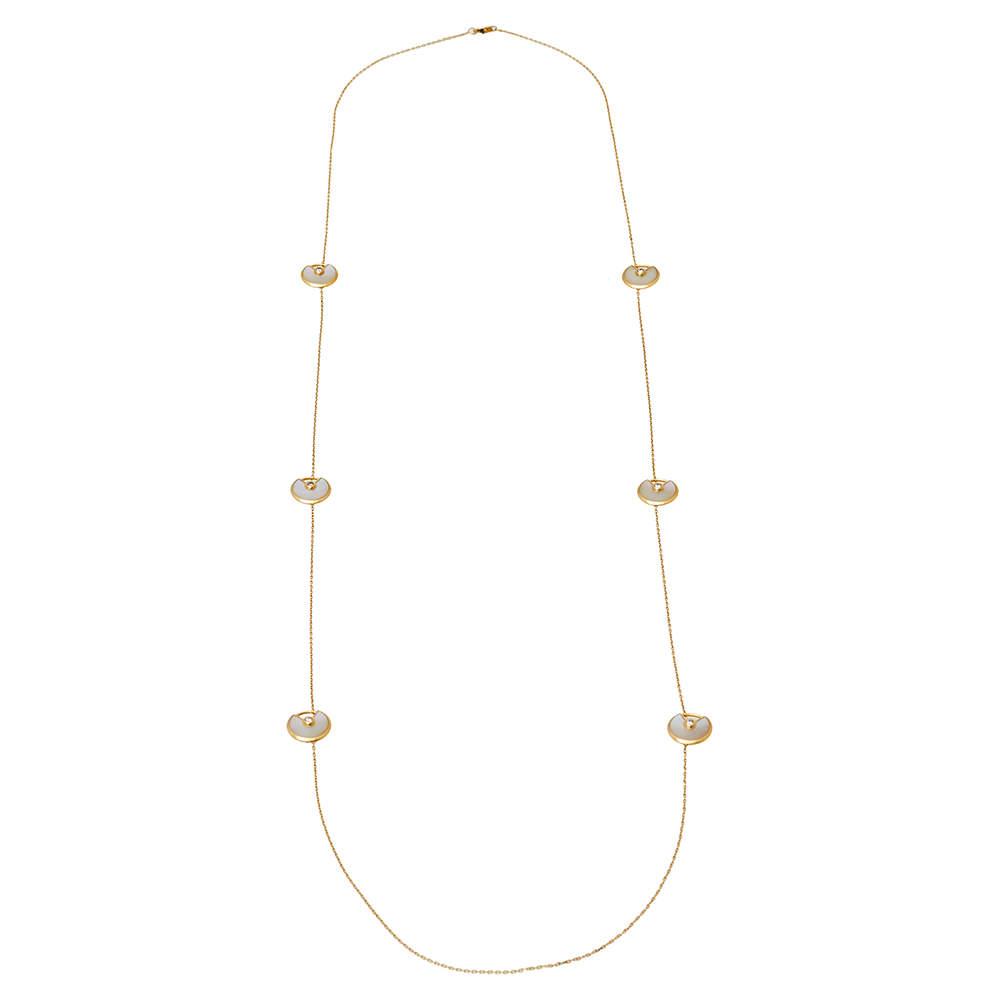 Cartier Amulette de Cartier Diamond Mother of Pearl 18K Yellow Gold Long Station Necklace
