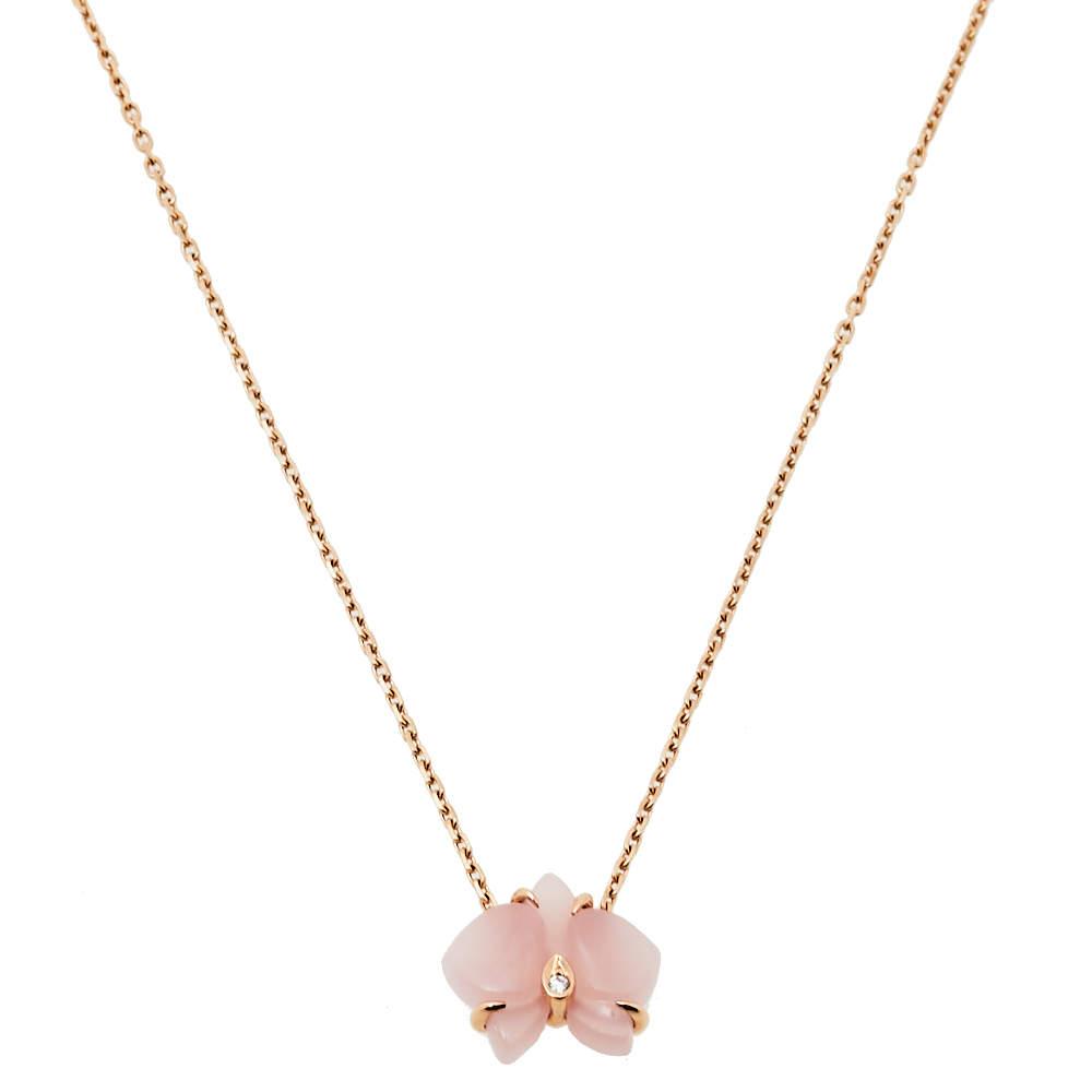 Cartier Caresse d'Orchidees par Cartier Diamond Pink Chalcedony 18K Rose Gold Necklace