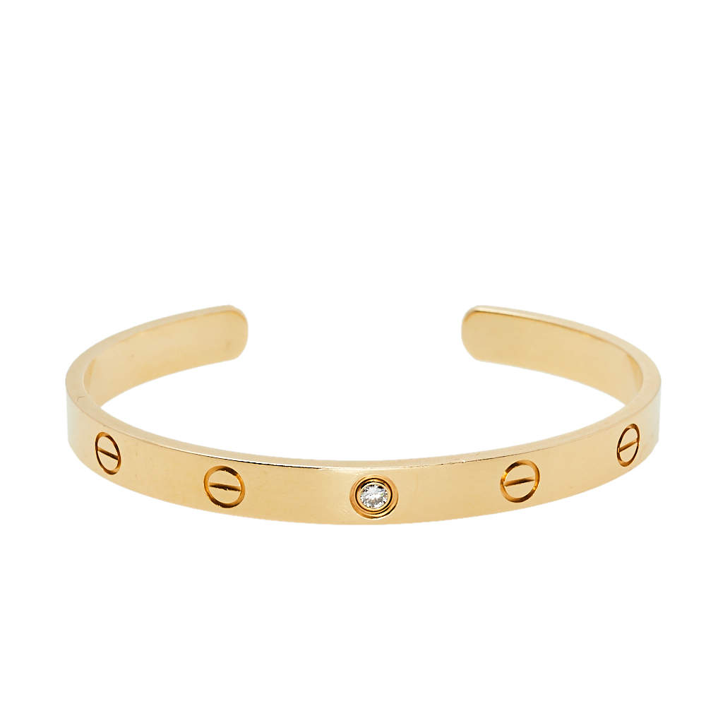 Cartier Love 1 Diamond 18K Yellow Gold Open Cuff Bracelet 18
