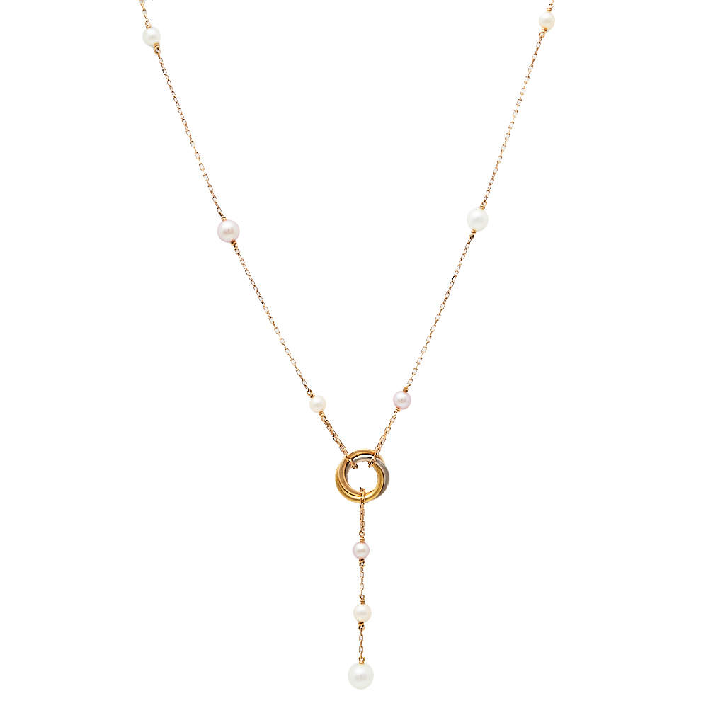 Cartier Trinity de Cartier Cultured Pearl 18K Three Tone Gold Necklace