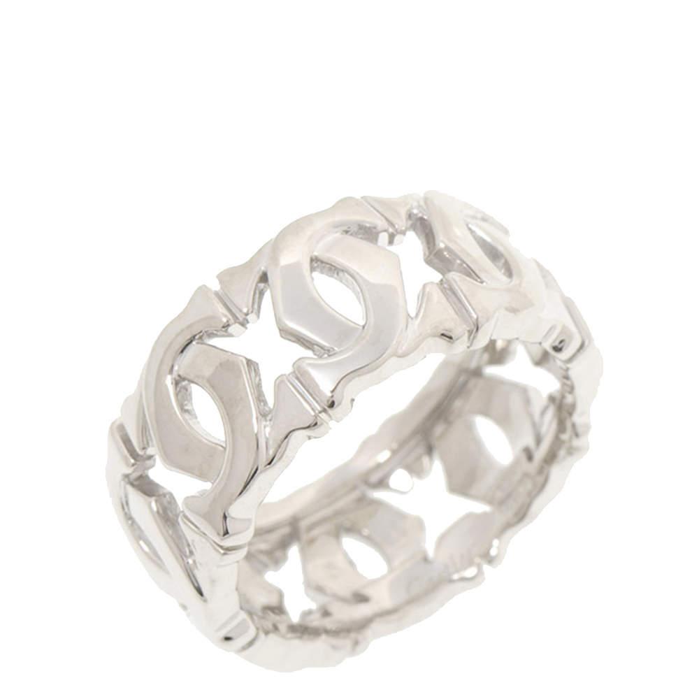 Cartier Double C 18K White Gold Ring Size EU 50