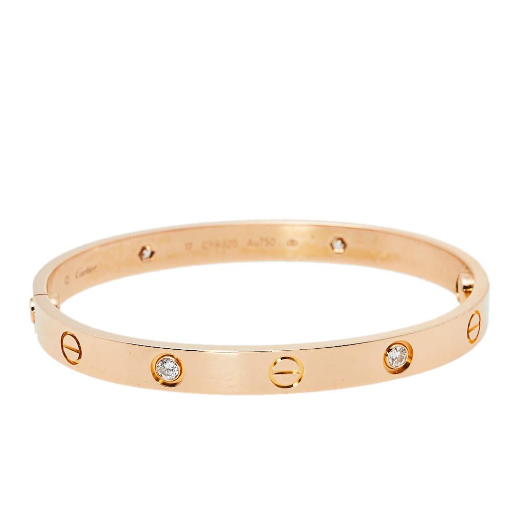 Cartier Love 4 Diamond 18K Rose Gold Bracelet 17