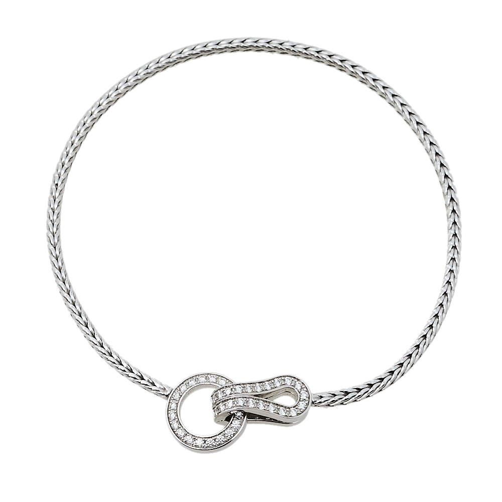 Cartier Agrafe Diamond 18K White Gold Bracelet 17