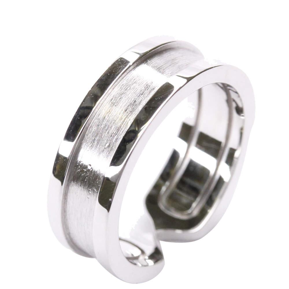 Cartier Double C 18K White Gold Band Ring Size EU 53