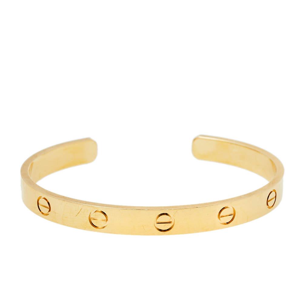 Cartier Love 18K Yellow Gold Open Cuff Bracelet 17