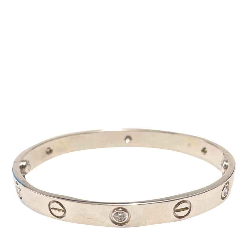 Cartier 18K White Gold 6 Diamond Love Bracelet Size: 17