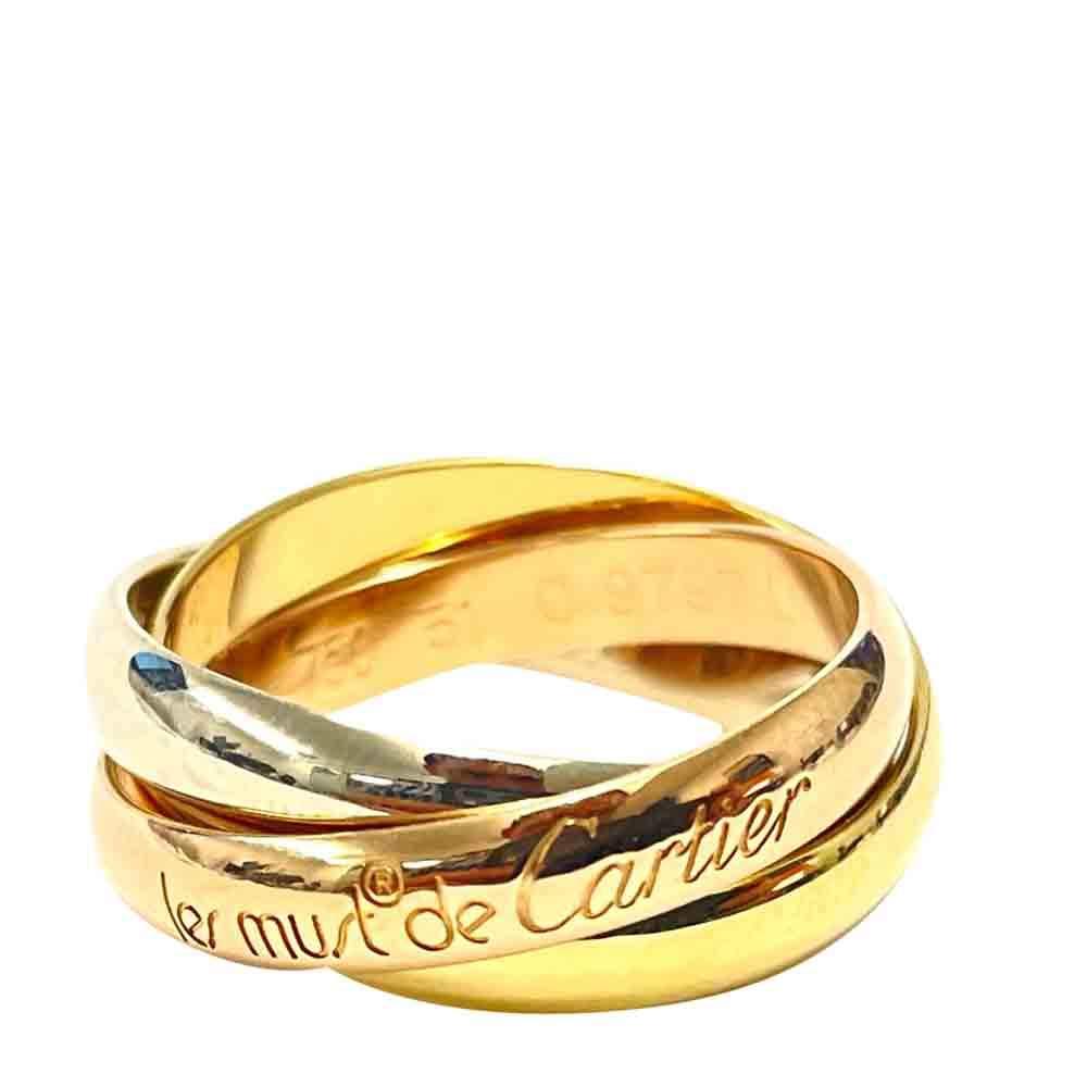 Cartier Les Must De Cartier Trinity 18K Yellow White Rose Gold Ring Size EU 51