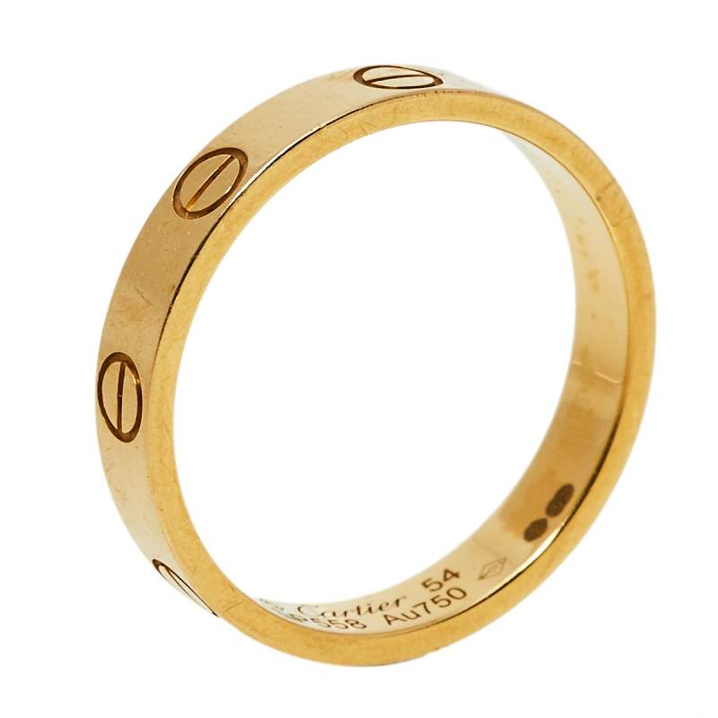 Cartier Love 18K Yellow Gold Wedding Band Ring Size 54