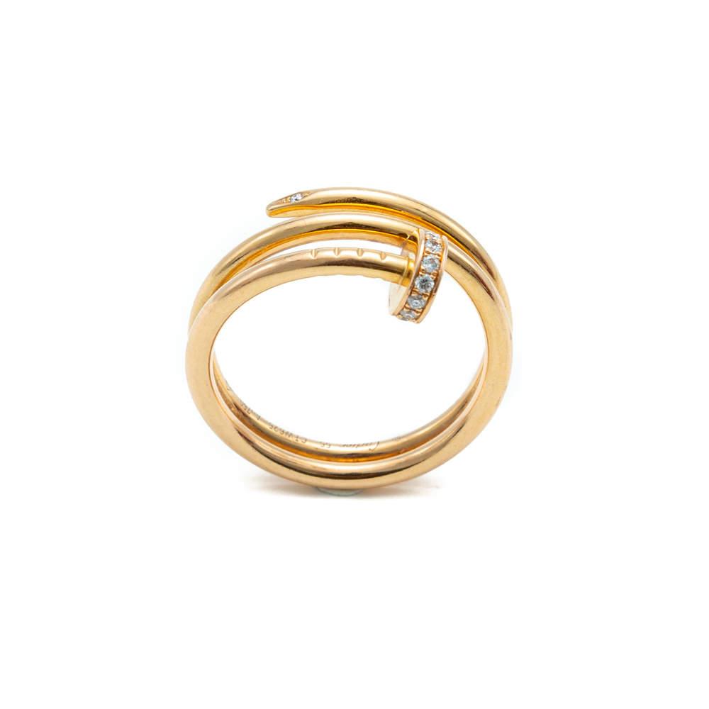 Cartier Juste un Clou Rose Gold Diamond Ring Size 55