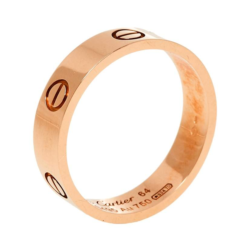Cartier Love 18K Rose Gold Wedding Band Ring Size 64