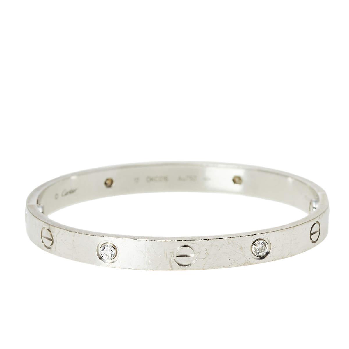 Cartier Love 4 Diamond 18K White Gold Bracelet 17
