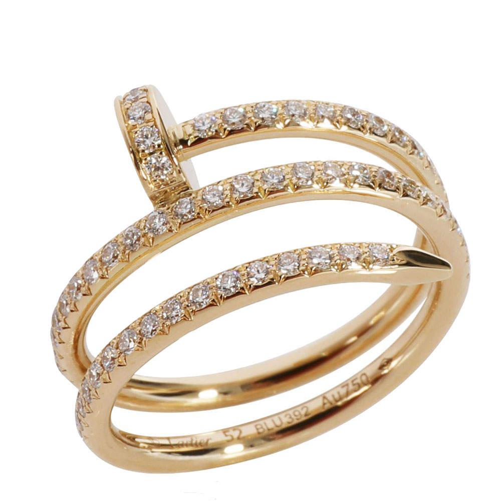 Cartier Juste un Clou Diamond 18K Yellow Gold Ring Size EU 52