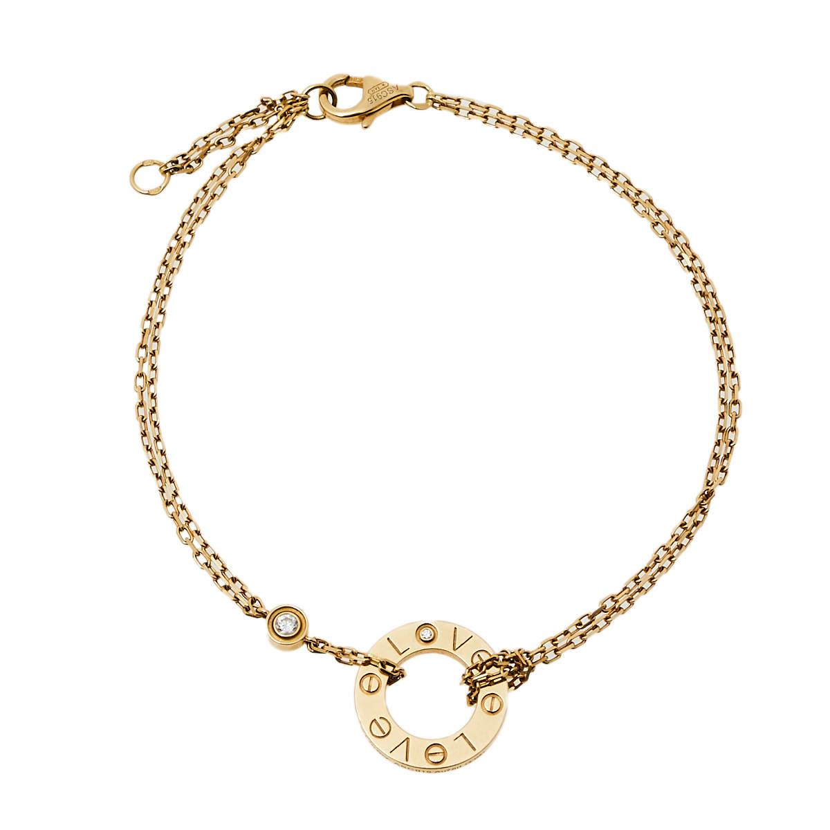 Cartier Love Diamond 18K Yellow Gold Double Chain Bracelet