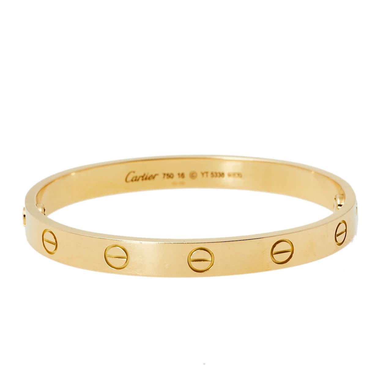 Cartier Love 18K Yellow Gold Bracelet 16