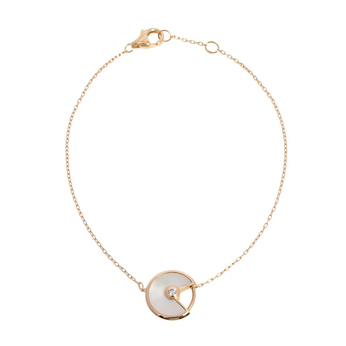 Cartier Amulette De Cartier 18K Yellow Gold Diamond & Mother of Pearl Bracelet XS