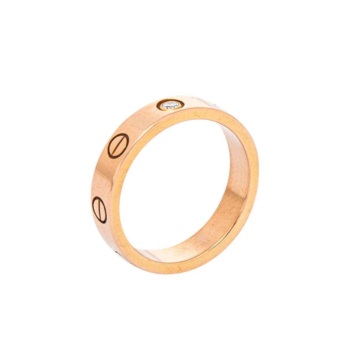 Cartier Love 1 Diamond 18K Rose Gold Wedding Band Ring Size 49