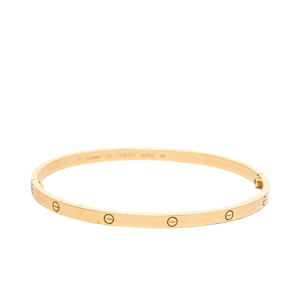 Cartier Love 18K Yellow Gold Narrow Bracelet SM 20