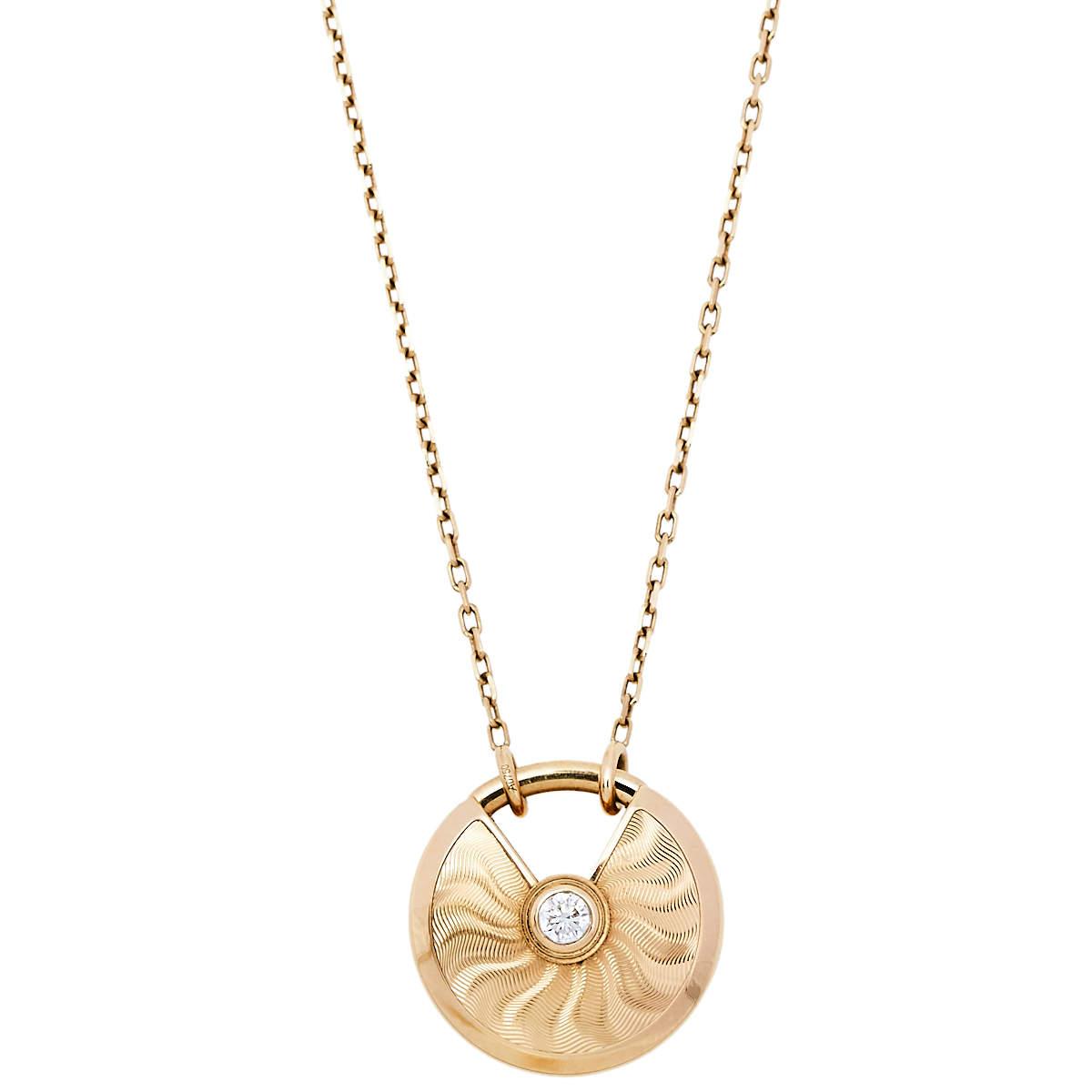 Cartier Amulette de Cartier Diamond Textured 18K Yellow Gold Long Pendant Necklace