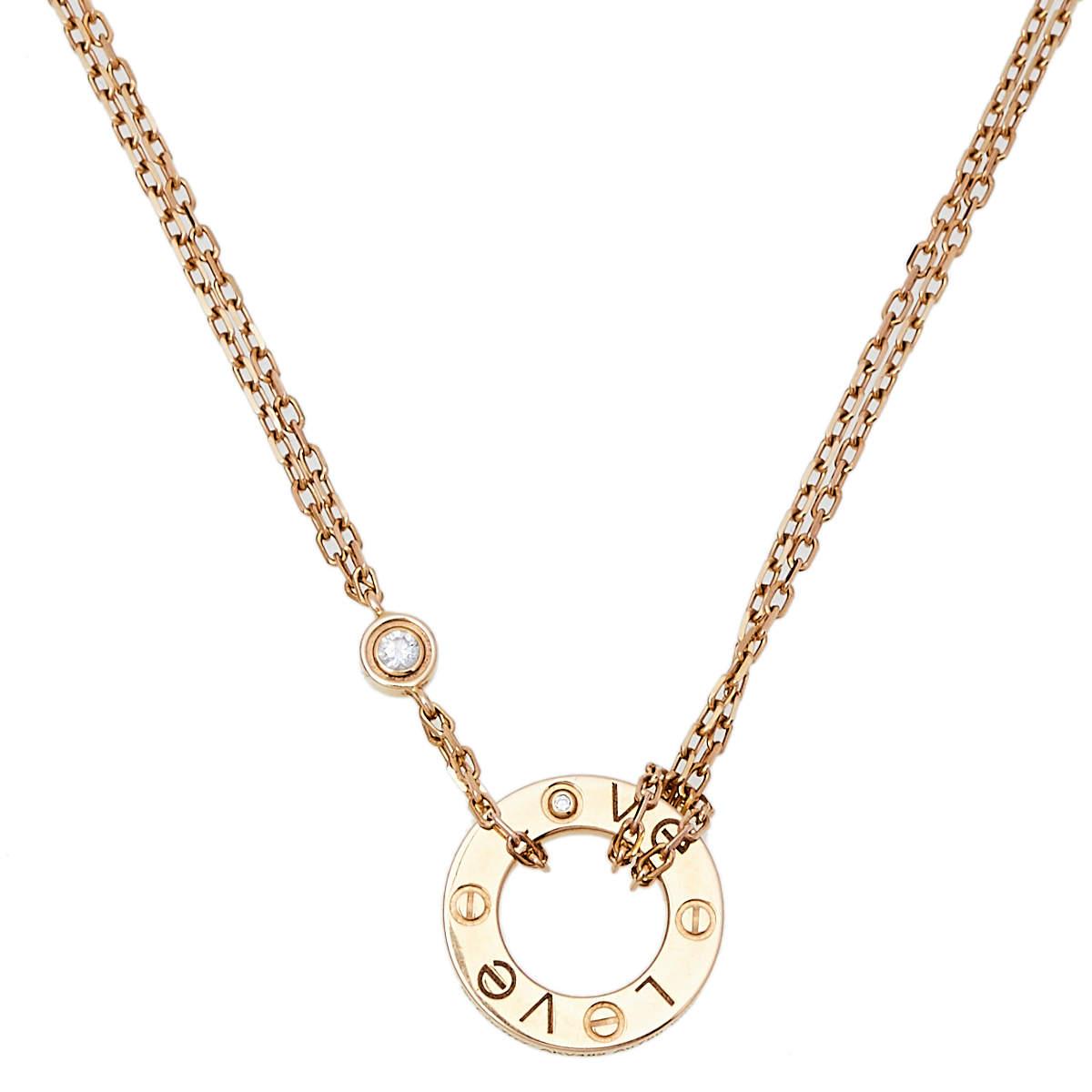 Cartier Love Diamond 18K Yellow Gold Necklace