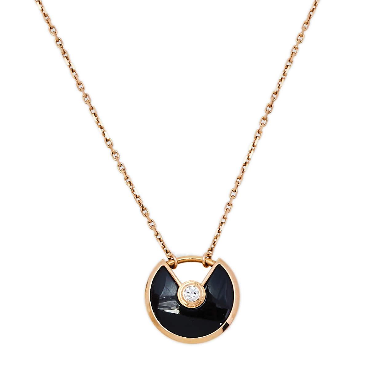 Cartier Amulette De Cartier 18K Rose Gold Diamond & Onyx Pendant Necklace XS