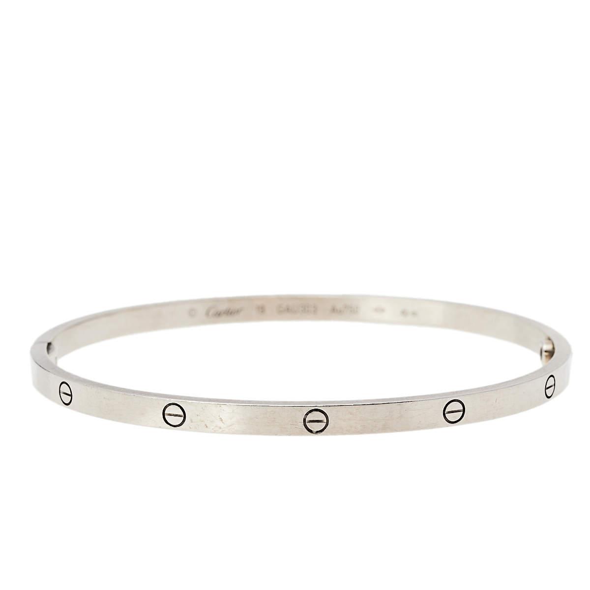 Cartier Love 18K White Gold Cuff Bracelet 19