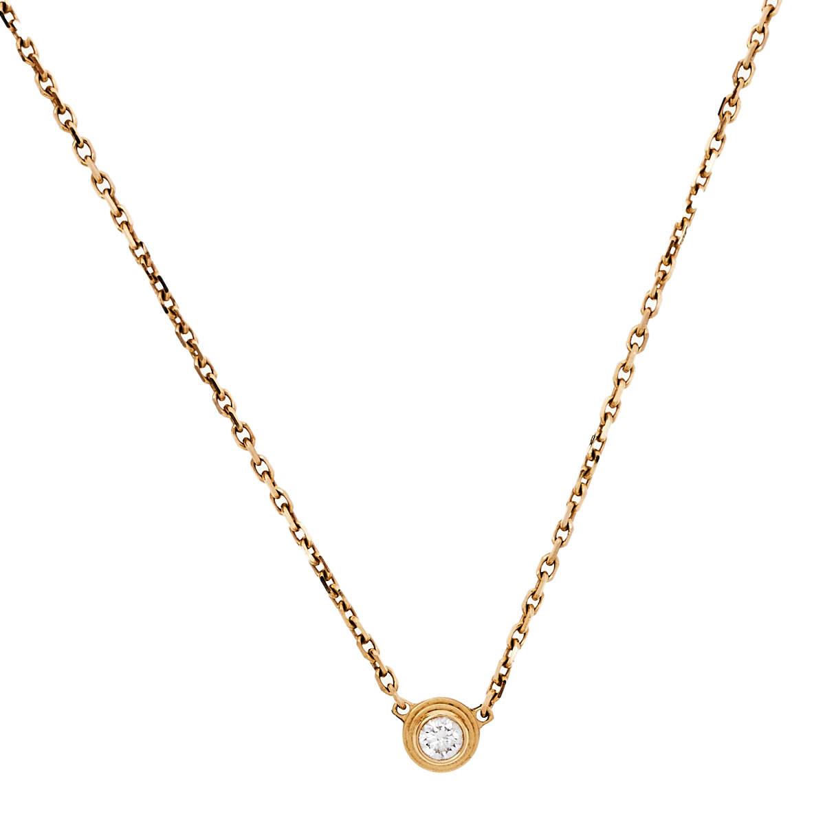 Cartier Diamants Légers Diamond 18k Rose Gold Necklace XS