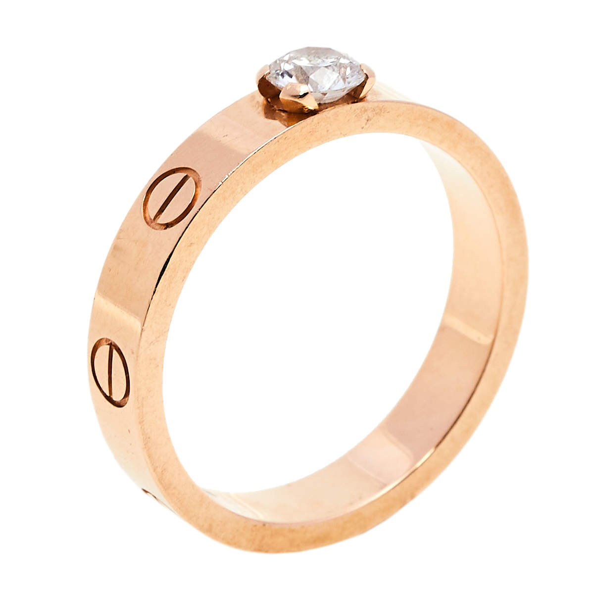 Cartier Love 0.25ct Solitaire Diamond 18K Rose Gold Narrow Band Ring Size 53
