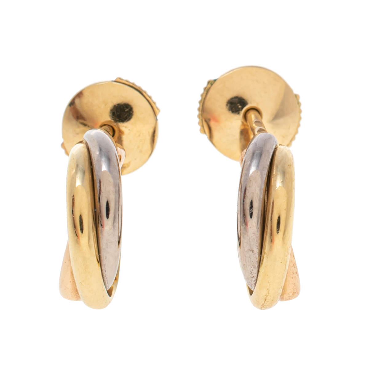 Cartier Trinity de Cartier 18K Three Tone Gold Stud Earrings