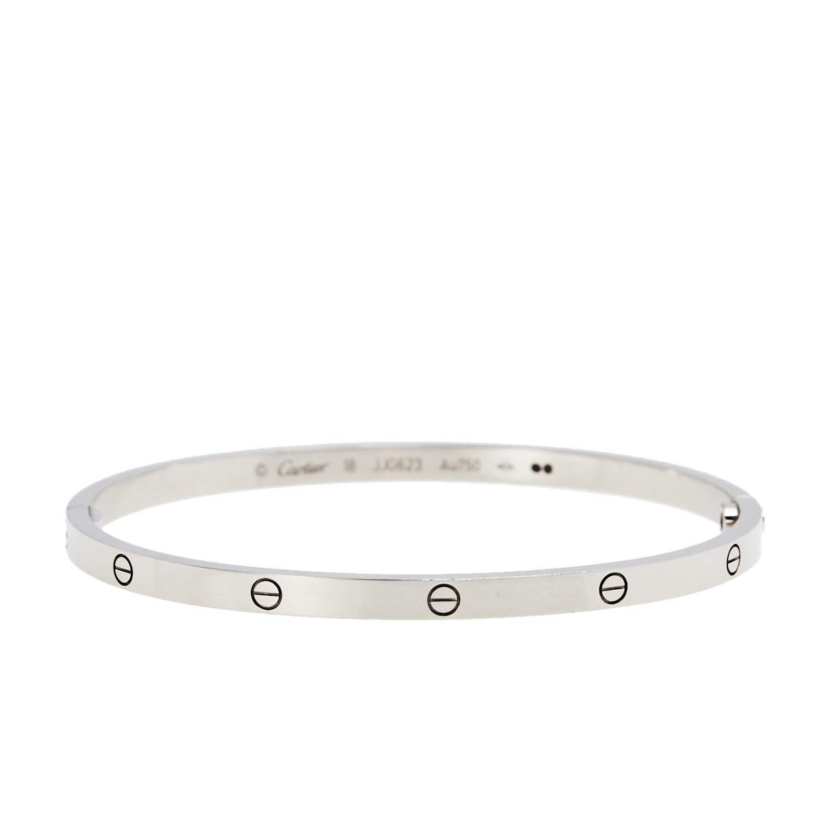 Cartier Love 18K White Gold SM Narrow Bracelet 18