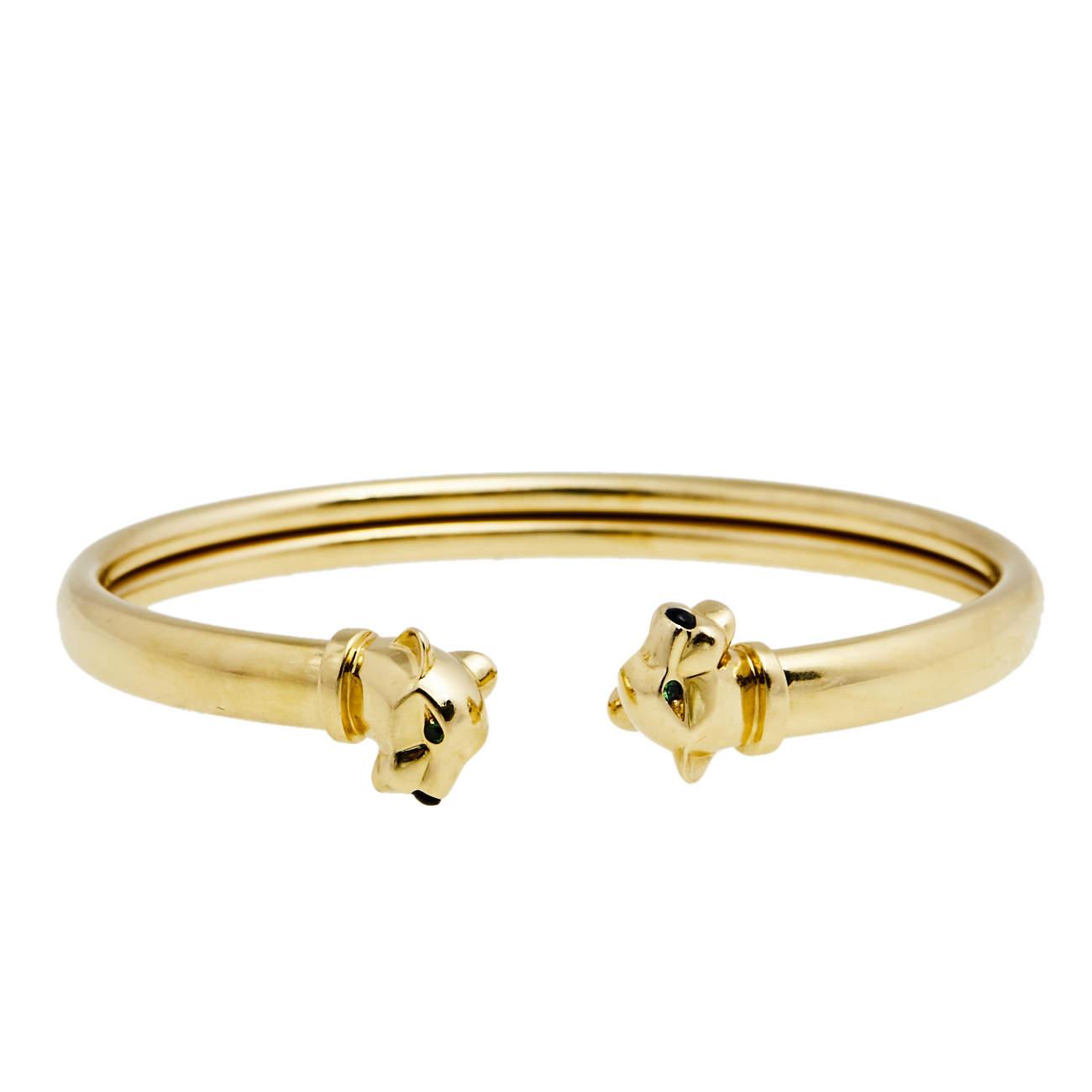 Cartier Panthere de Cartier Tsavorite Onyx 18K Yellow Gold Open Cuff Bracelet 18