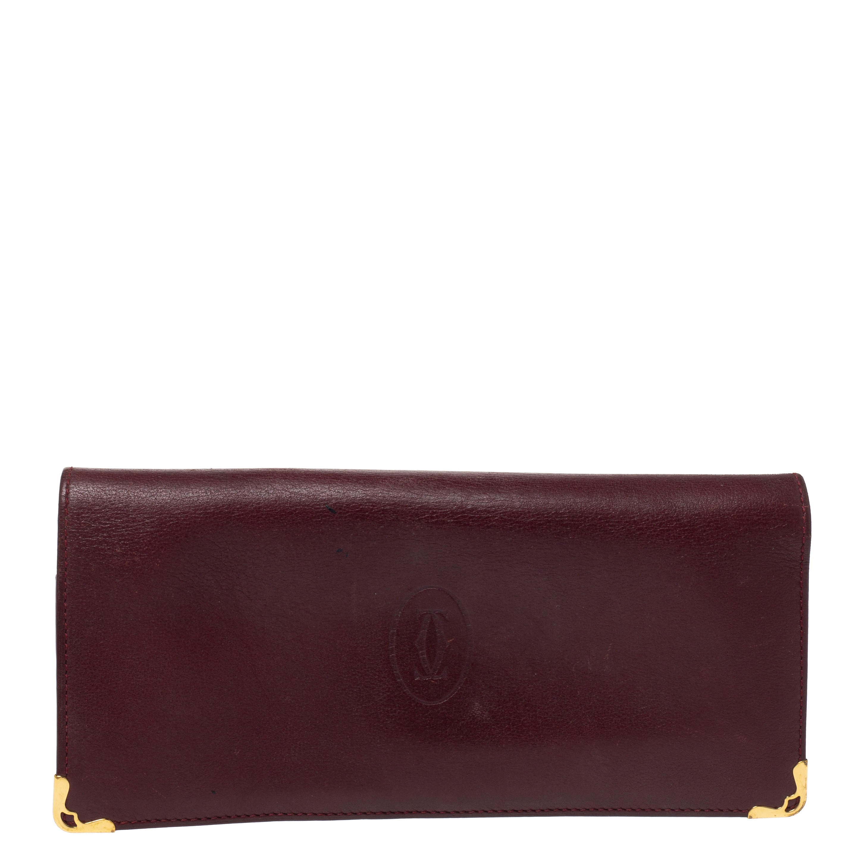 Cartier Maroon Leather Must De Cartier Wallet