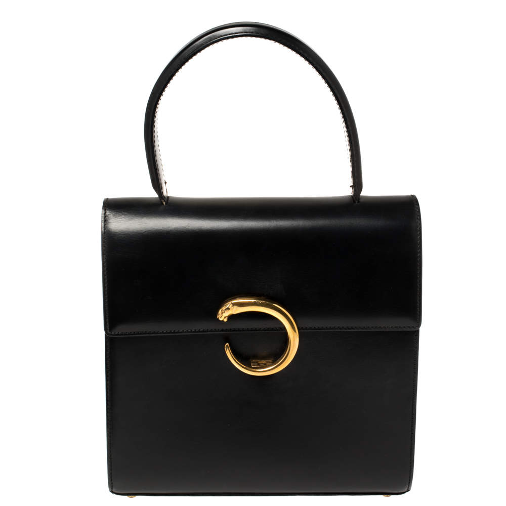 Cartier Black Leather Panthere Top Handle Bag