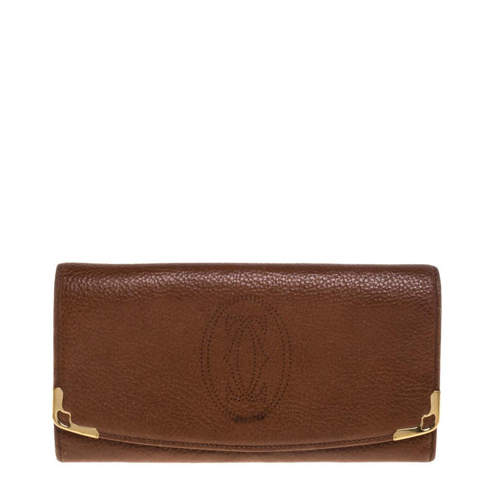 Cartier Brown Leather Marcello de Cartier Flap Wallet