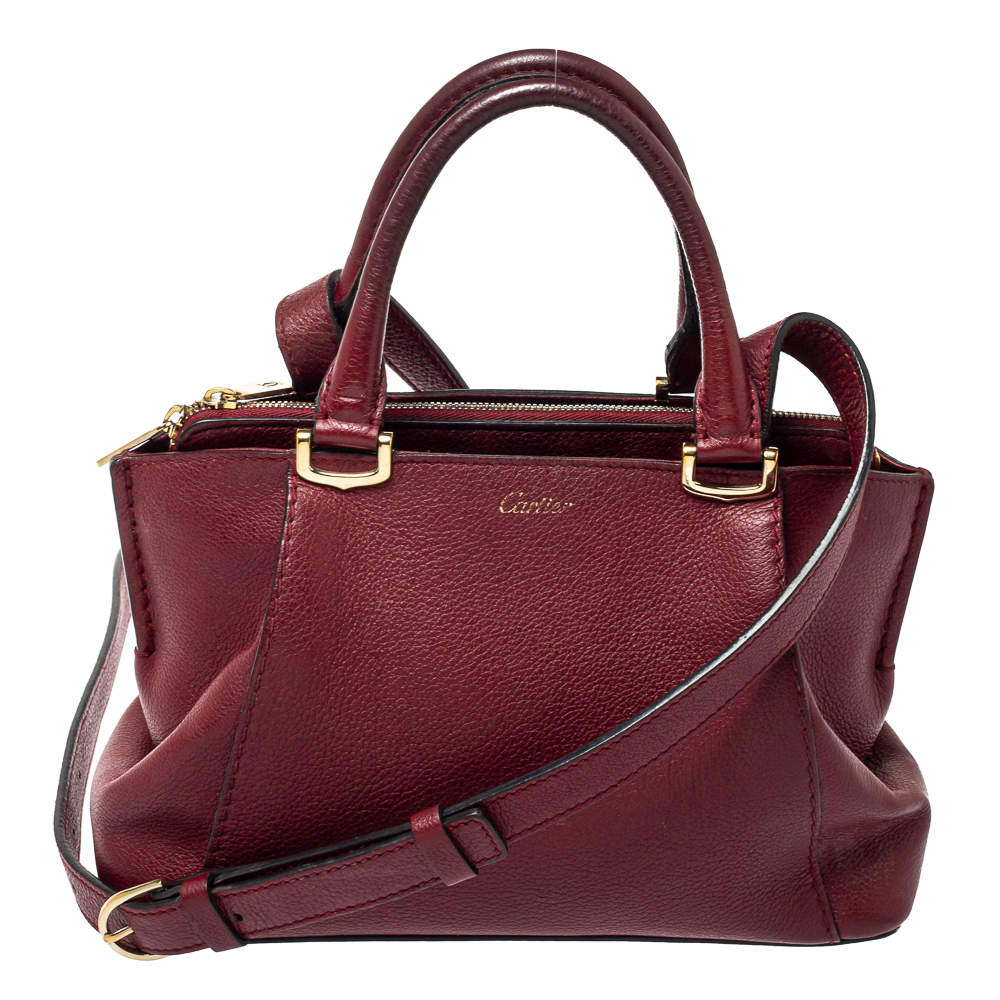 Cartier Maroon Leather Mini C de Cartier Satchel