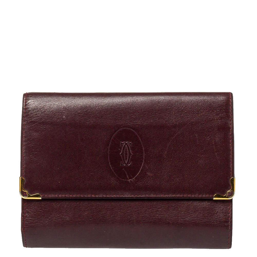 محفظة كارتييه طية ثلاثية جلد عنابي